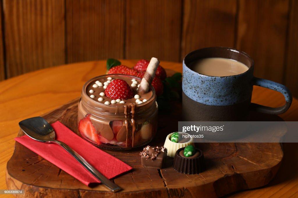 Chocolate with Strawberry : Stock Photo