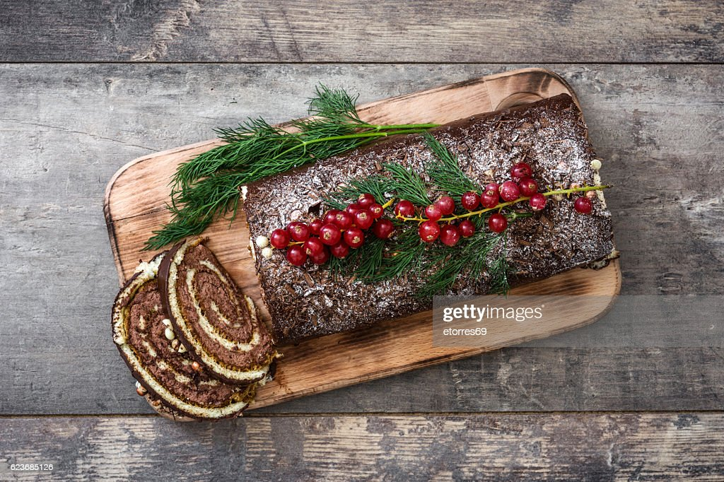 Chocolate yule log cake : Stock Photo