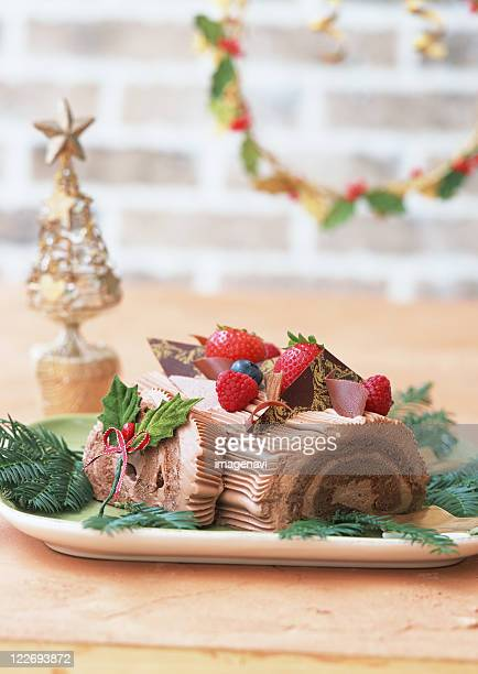 A chocolate yule log