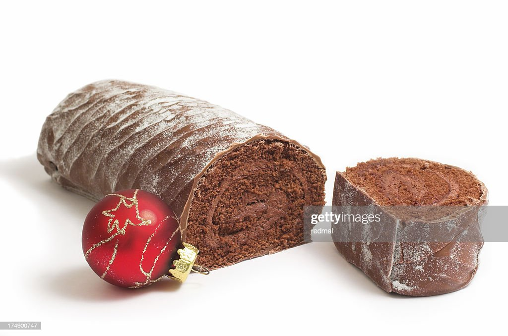chocolate yule log : Stock Photo
