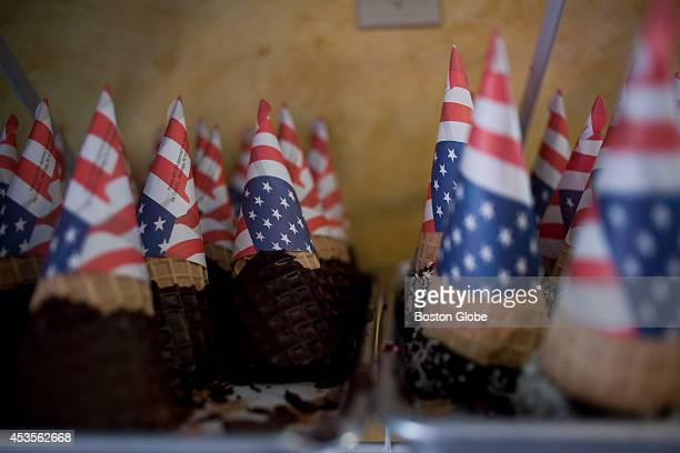 Chocolatedipped cones at Black Cow Ice Cream on August 8 2014 in Millis Mass