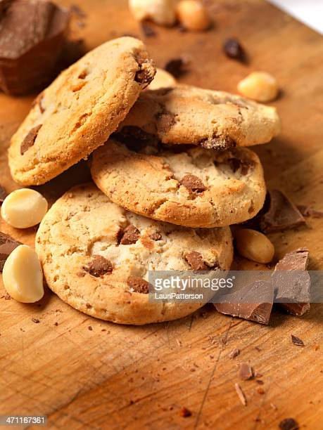 chocolate,macadamia nut cookies - macadamia nut stock photos and pictures