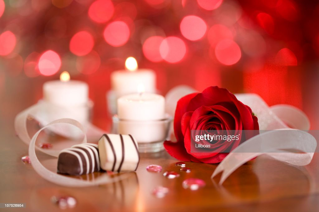 Chocolates and Candles : Stock Photo