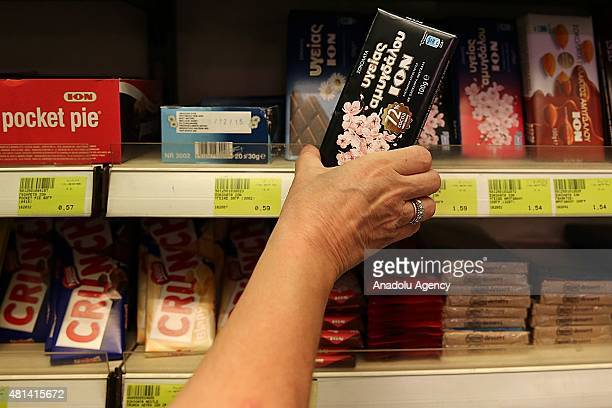 Chocolates are seen on a shelf at at a market in Athens Greece on July 20 2015 Many goods and services become more expensive on Monday as a result of...