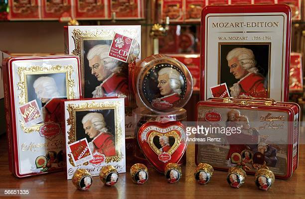 Chocolates celebrating Wolfgang Amadeus Mozart seen on January 23 2006 in Salzburg Austria Salzburg celebrates the 250th anniversary of his birth on...