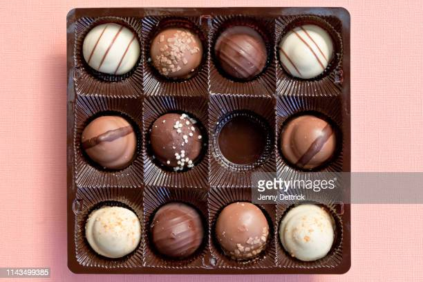 chocolates in a box - box of chocolate stock pictures, royalty-free photos & images