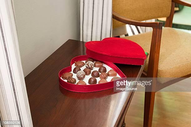 Chocolates in heart shaped box