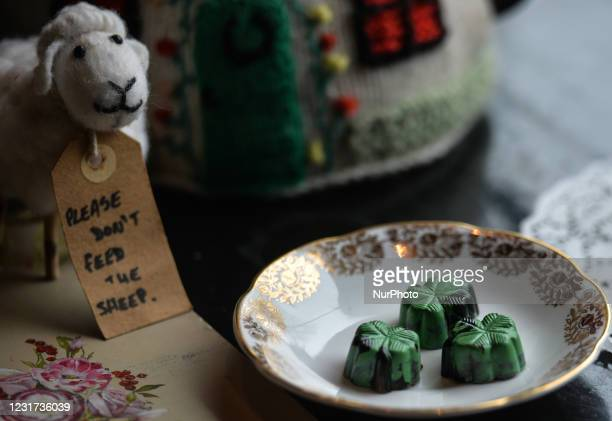 Chocolates in the form of a shamrock on display inside the Irish Potato Cake Company restaurant in Dublin's city center. On Monday, 15 March 2021, in...