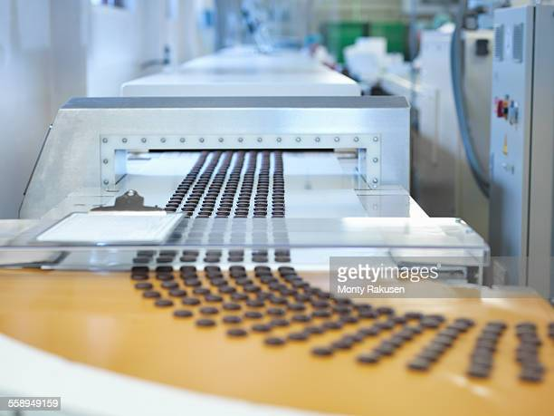 Chocolates on production line in chocolate factory