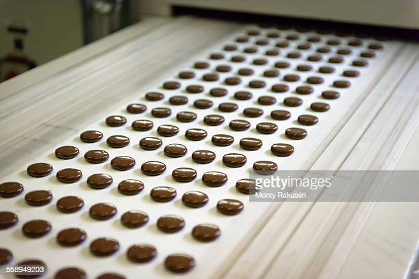 chocolates on production line in chocolate factory - candy factory stock pictures, royalty-free photos & images