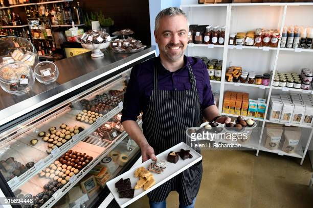 Chocolatier Phil Simonson shows off some of his unique chocolates that are all made by hand at Chocolate Lab on February 7 2018 in Denver Colorado...
