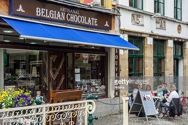 Chocolatier's Artisanal Belgian Chocolate shop selling varieties of pralines and confectionery in the city Ghent Belgium