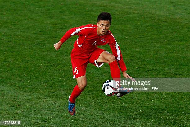 Choe Ju Song of Korea DPR in action during the FIFA U20 World Cup New Zealand 2015 Group E match between Korea DPR and Hungary held at Stadium...