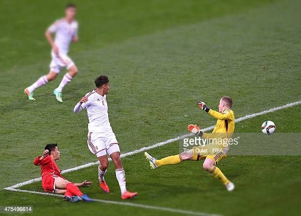Choe Ju Song of Korea DPR scores a goal during the FIFA U20 World Cup New Zealand 2015 Group E match between Korea DPR and Hungary held at Stadium...