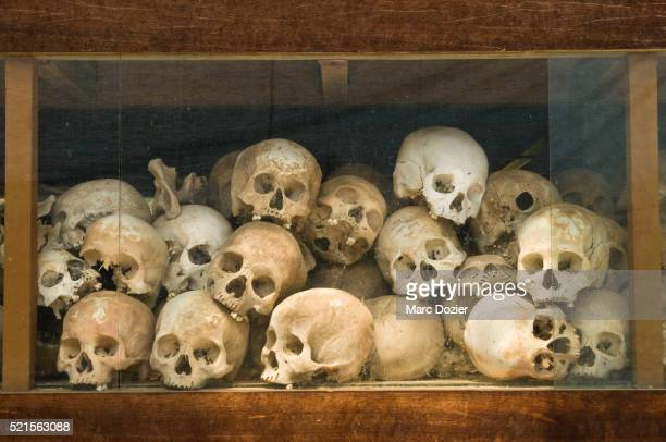 choeung ek site skulls - killing fields stock pictures, royalty-free photos & images