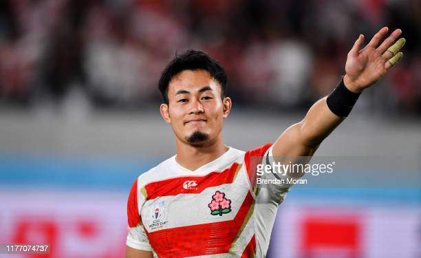 Chofu , Japan - 20 October 2019; Kenki Fukuoka of Japan waves to supporters after the 2019 Rugby World Cup Quarter-Final match between Japan and...