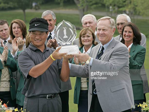 KJ Choi and Jack Nicklaus after Choi wins the Memorial Tournament Presented by Morgan Stanley held at Muirfield Village Golf Club in Dublin Ohio on...