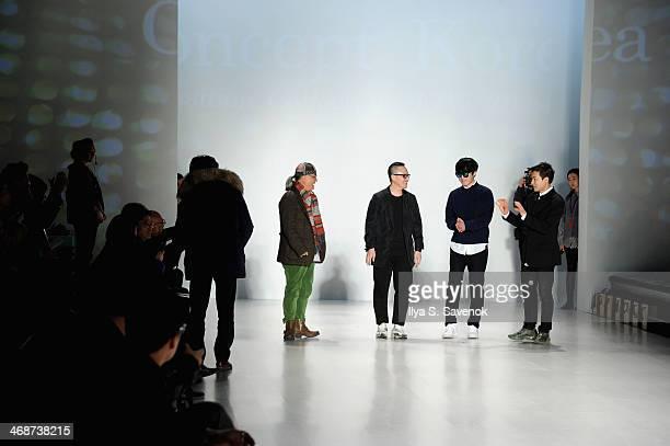 Choi Boko Kaal E Suktae TaeYoung Ko and Park Youn Soo attend the Concept Korea fashion show during MercedesBenz Fashion Week Fall 2014 at The Salon...