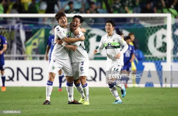 Choi BoKyung of Jeonbuk Hyundai Motors celebrates after scoring a second goal during a AFC Champions League Quarter Final second leg match between...