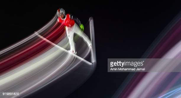 Choi Heung Chul of Korea makes a jump during the Ski Jumping Men's Large Hill on day nine of the PyeongChang 2018 Winter Olympic Games at Alpensia...