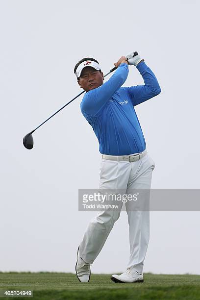 J Choi hits a tee shot on the 4th hole during the final round of the Farmers Insurance Open on Torrey Pines South on January 26 2014 in La Jolla...