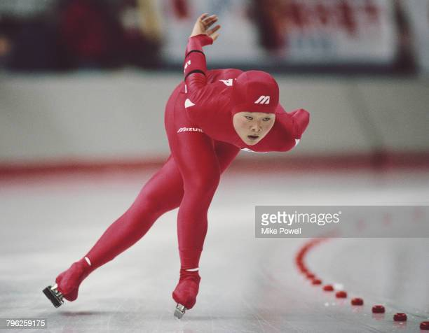 Choi Hyesook of South Korea skates in the Womens 3000m speed skating competition on 23 February 1988 during the XV Olympic Winter Games at the...