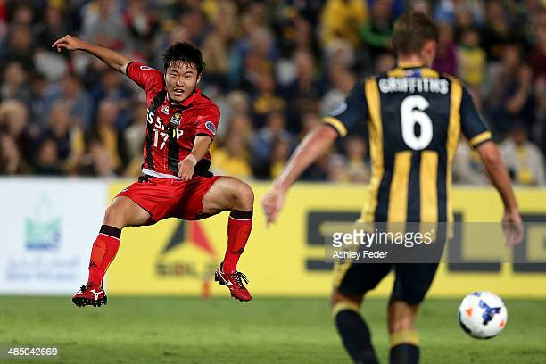 Choi Hyuntae of FC Seoul kicks the ball ahead of Mariners defence during the AFC Asian Champions League match between the Central Coast Mariners and...