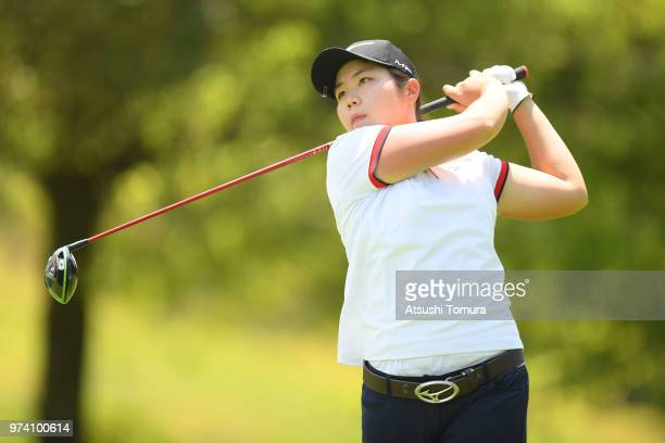 Choi Jiwoo of South Korea hits her tee shot on the 14th hole during the third round of the Toyota Junior Golf World Cup at Chukyo Golf Club on June...