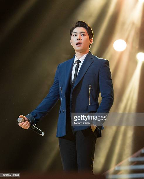 Choi Jonghyun of Teen Pop performs at the 2015 KPop Festival at Prudential Center on August 8 2015 in Newark New Jersey