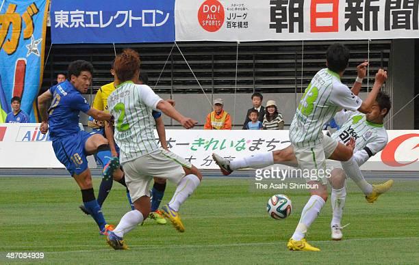 Choi JungHan of Oita Trinita scores his team's second goal during the JLeague second division match between Oita Trinita and Kataller Toyama at Oita...