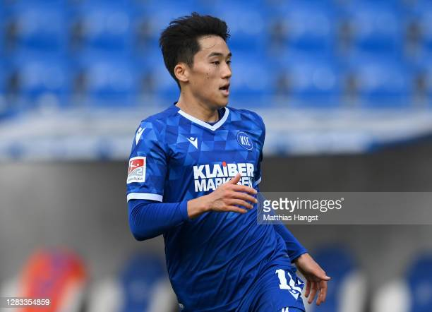Choi Kyoung-Rok of Karlsruhe in action during the Second Bundesliga match between Karlsruher SC and SV Darmstadt 98 at Wildparkstadion on November...