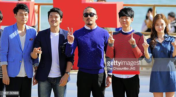 Choi KyuHwan Lee JiHoon Ha JungWoo Jung KyoungHo and Ko SungHee attend a outdoor greeting of 'Fasten Your Seatbelt' during the 18th Busan...