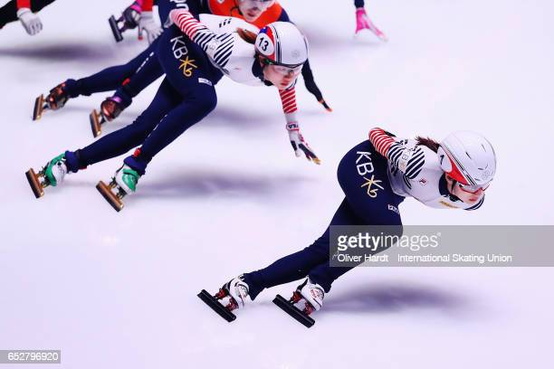 Choi Min Jeong of Korea competes in the Ladies 1000m semi finals race during day two of ISU World Short Track Championships at Rotterdam Ahoy Arena...