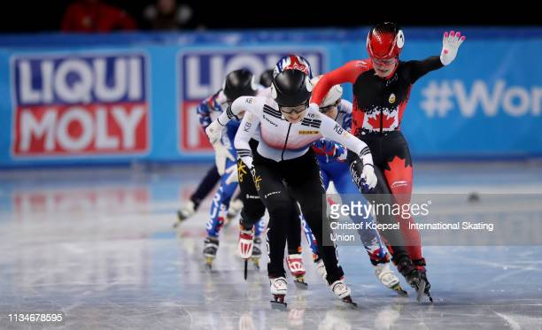 Choi Min Jeong of Republic of Korea crosses as first the finish line of the ladies 1500 meter final during the ISU World Short Track Speed Skating...