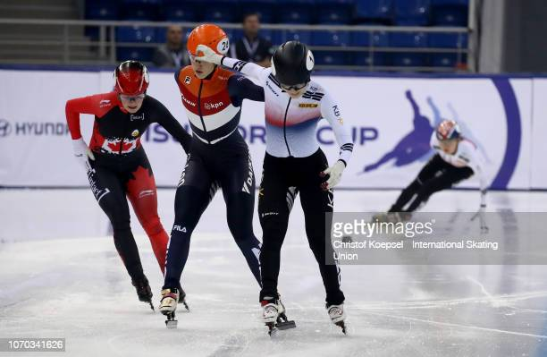 Choi Minjeong of South Korea celebrates winning the ladies second 1500 meter final A race during the ISU Short Track World Cup Day 2 at Halyk Arena...