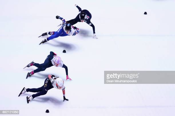Choi Minjeong of South Korea Elise Christie of Great Britain Sofia Prosvirnova of Russia and Deanna Lockett of Australia compete in the 1500m...