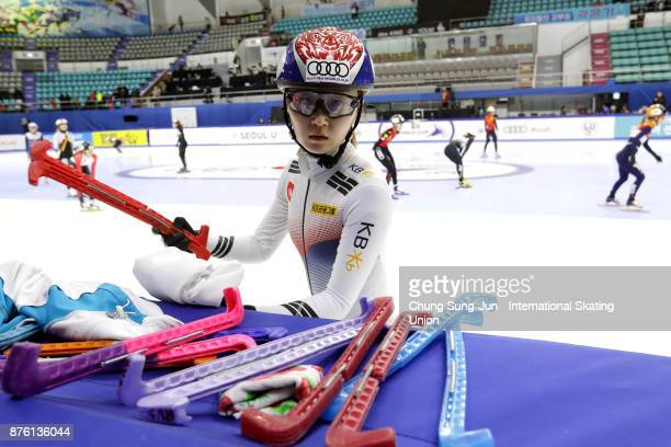 Choi MinJeong of South Korea prepares for warm up during the Audi ISU World Cup Short Track Speed Skating at Mokdong Ice Rink on November 19 2017 in...