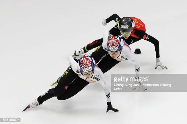 Choi MinJeong of South Korea Shim SukHee of South Korea and Kexin Fan of China compete in the Ladies 1000m Quarterfinals during during the Audi ISU...