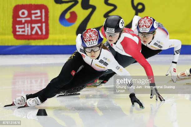Choi MinJeong of South Korea Shim SukHee of South Korea and Kim Boutin of Canada compete in Ladies 1000m Final A during the Audi ISU World Cup Short...