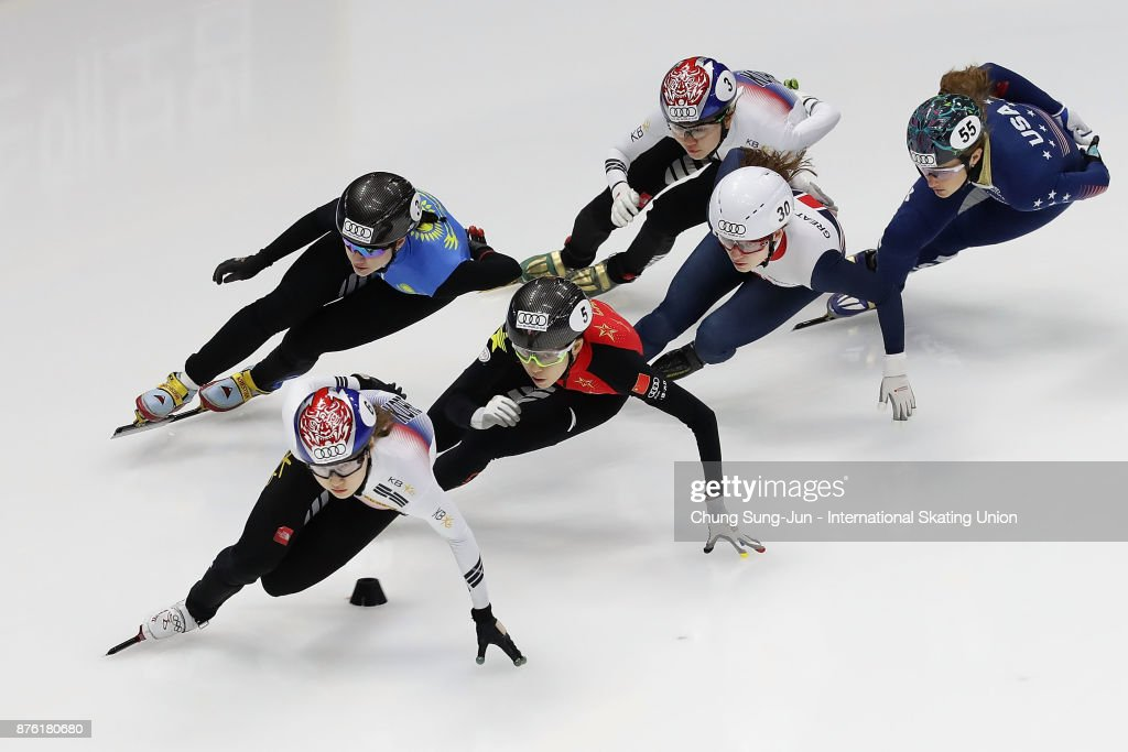 Choi Min-Jeong of South Korea, Shim Suk-Hee of South Korea, Kexin Fan of China, Kathryn Thomson of Great Britain and Katherine Reutter-Adamek of United States compete in the Ladies 1000m Quarterfinals during during the Audi ISU World Cup Short Track Speed Skating at Mokdong Ice Rink on November 19, 2017 in Seoul, South Korea.