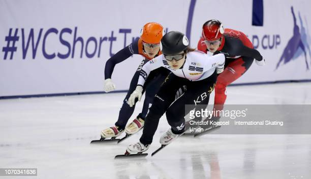 Choi Minjeong of South Korea skates during the ladies second 1500 meter final A race during the ISU Short Track World Cup Day 2 at Halyk Arena on...