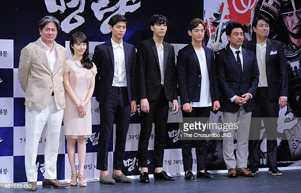 Choi MinSik Lee JungHyun Park BoGum No MinWoo Kwon Yul Ryu SeungRyong and Jo JinWoong attend the movie 'Roaring Currents' press conference at...