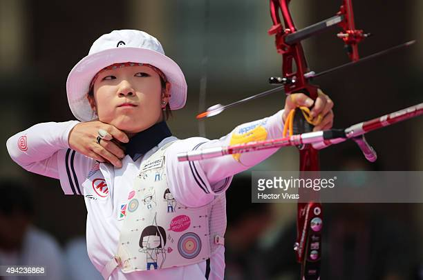 Choi Misun of Korea shoots during the recurve women's individual competition as part of the Mexico City 2015 Archery World Cup Final at Zocalo Main...