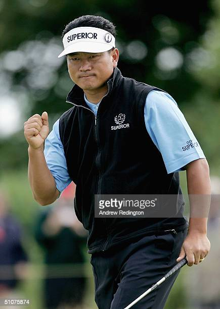 Choi of Korea celebrates his birdie on the 16th green during the second round of the 133rd Open Championship at the Royal Troon Golf Club on July 16,...
