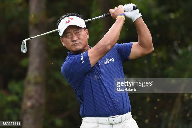 J Choi of Korea hits his tee shot on the 7th hole during the first round of the CJ Cup at Nine Bridges on October 19 2017 in Jeju South Korea