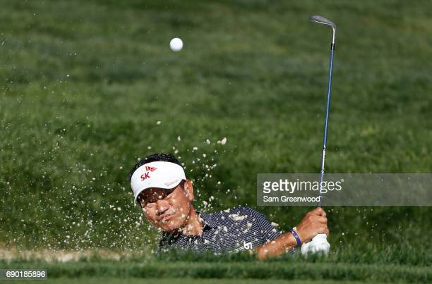 J Choi of Korea plays a shot during a practice round prior to The Memorial Tournament Presented By Nationwide at Muirfield Village Golf Club on May...