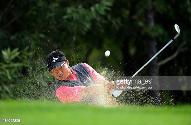 Choi of Korea plays a shot during round two of the CJ Invitational Hosted by KJ Choi at Haesley Nine Bridges Golf Club on October 11 2013 in Suwon...