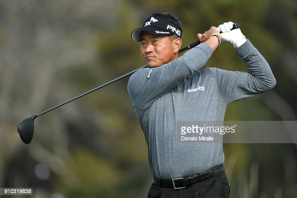 J Choi of Korea plays his shot from the 14th tee during the first round of the Farmers Insurance Open at Torrey Pines North on January 25 2018 in San...