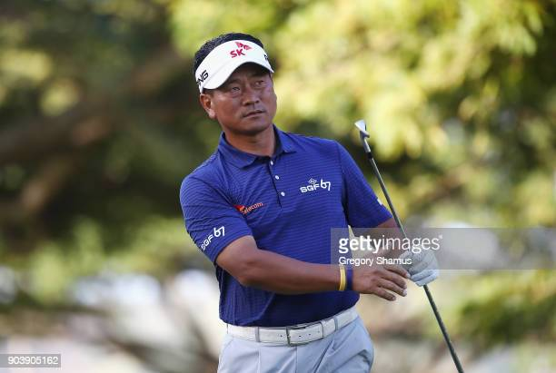 J Choi of Korea plays his shot from the fourth tee during round one of the Sony Open In Hawaii at Waialae Country Club on January 11 2018 in Honolulu...