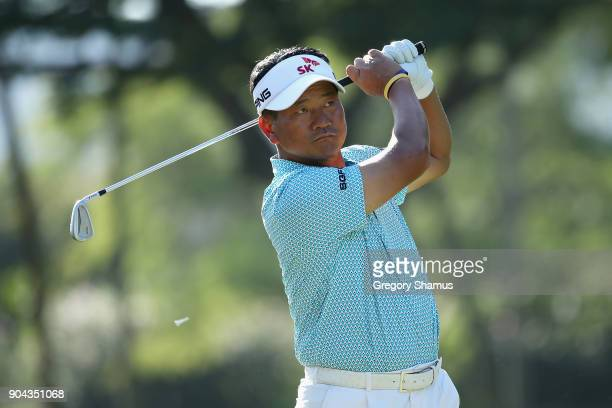 J Choi of Korea plays his shot from the fourth tee during round two of the Sony Open In Hawaii at Waialae Country Club on January 12 2018 in Honolulu...